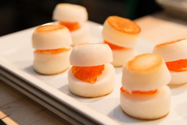 Apple Meringue with Cured Salmon and Salmon Roe